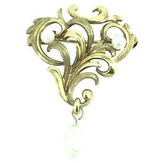Art Nouveau 9CT Gold Hallmarked Brooch Pin Genuine Stones Signed c.1890s