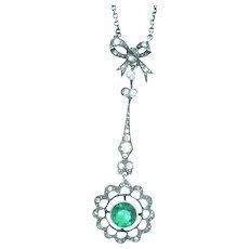 Belle Epoque Pendant Necklace Silver Sterling Hallmarked Paste Stones C.1890