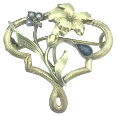 Art Nouveau Costume Brooch Pin Iris Blue Paste Stone Gold Filled