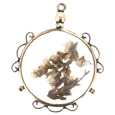 Old Dried Flowers Glassed Locket Rolled Gold Adorable C.1840
