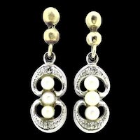 Edwardian 9CT 375 Hallmarked Earrings Diamonds Cultured Pearls C.1910