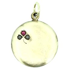 Edwardian Small Pendant Fob Gold Filled Shamrock Red Paste C.1910s