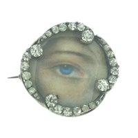Art Nouveau Locket Brooch Pin Paste Stones Beautiful Costume C1890s