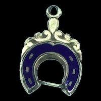 Victorian Style Enamelled Fob Charm Pendant Textured Horseshoe C.1890
