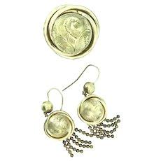 Pinchbeck Earrings Brooch Set Aesthetic Tassels