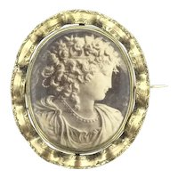 Victorian Style Aesthetic Pinchbeck Glassed Statement Brooch C.1890s