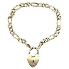 "Edwardian 7"" Gold 9CT 375 Bracelet Fully Hallmarked Heart Padlock Signed"