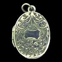 Edwardian Pendant Hinged Locket Rolled Gold Embossed Patterns C.1910