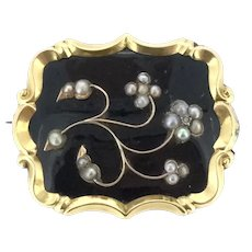 Old Mourning Brooch Small Diamond Enamelled High Relief Flowers C.1870s