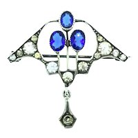 Art Deco Style Paste Brooch Magnificent Blue Stones C.1920