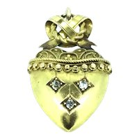 Diamonds Heart Pendant Solid Gold 15CT Aesthetic Lovers Knot C.1890s