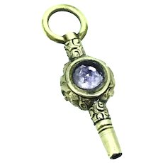 Small Watch Key Fob Pendant Engraved Aesthetic Agate & Amethyst C.1890