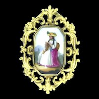 Pinchbeck Miniature Portrait Brooch Pin Hand Painted C.1800s