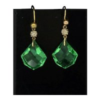 Art Deco Style Gold 9CT Faceted Green & White Paste Drop Dainty Earrings