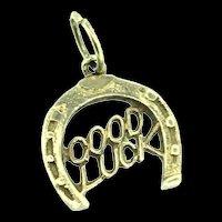 Good Luck Horseshoe Solid Gold 375 9CT Designer Charm