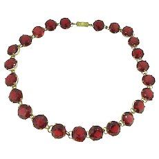 Edwardian Red Paste Rivière Choker Necklace Open Work Divine Yellow Metal c.1905
