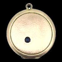 Edwardian Rolled Rose Gold Patterned Hinged Locket Pendant Blue Stone