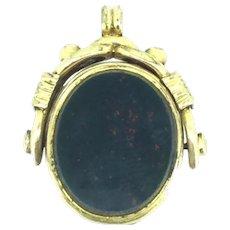 Victorian Style Swivel Locket Fob Pendant Genuine Agate C.1890