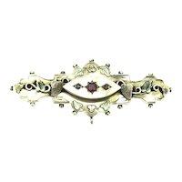 Antique Gold 9CT 375 Brooch Pin Locket Old Rose Cut Garnet Diamonds Aesthetic