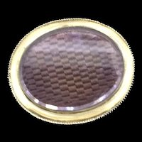 Oval Double Locket Brooch Pin Fine Gold Filled Elegantly Crafted