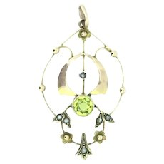 Edwardian Style Gold Pendant 9CT 375 Natural Genuine Peridots