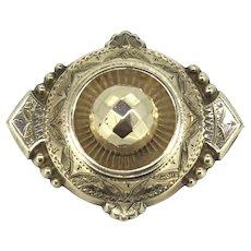 Victorian Etruscan Revival Brooch Aesthetic Keepsake Locket Gold Cased
