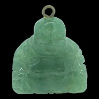 Vintage Carved Green Agate Buddha Pendant Charm