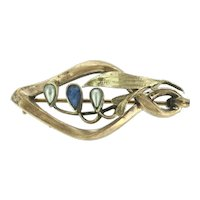 Art Nouveau Style French Brooch Pin Mistletoe Paste Stones Gold Plated