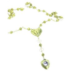 Alluring Gold 14K Filigree Necklace Old Rosary Amethyst Stone Heart