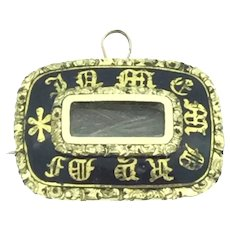 Small Mourning Pinchbeck Enamelled Brooch Pendant In Memory