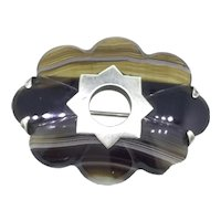 Scottish Banded Agate Brooch Pin White Metal