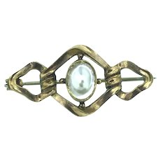 Art Nouveau Gold Cased Blister Pearl Abstract Brooch Pin