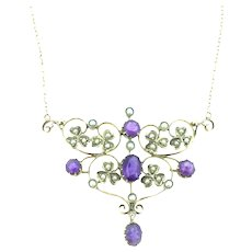 Edwardian Amethyst Lavaliere Necklace Flowers Regal 14CT Gold