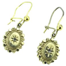 Fine Diamond Earrings Gold 9CT Victorian Style Dainty Beautiful