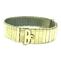 French Articulated Bracelet Cuff Adjustable Gold Plated Hallmarked Beautiful