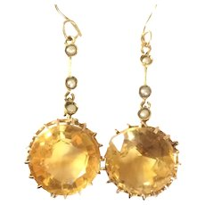 Edwardian Faceted Citrine Gold 9CT Earrings Drop Dangles Pierced French Hooks