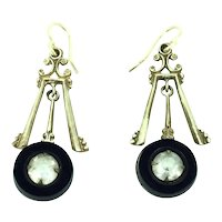 Art Deco Gold 9CT Ear Wires French Jet Paste Earrings Astonishing 1920s