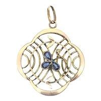 Edwardian Rolled Gold Pendant Blue Paste Open Back Stones Divine Piece 1901/1910