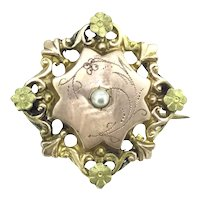 Adorable Small French Brooch Pin Gold Filled Aesthetic Beauty C.1915s