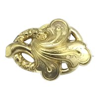 Art Nouveau French Brooch Pin Gold Filled Puffy Design Full of Movement