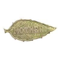 Old Textured Leaf MOTHER Brooch Pin Rolled Gold Hallmarked Lovely Gift Idea