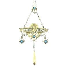 Art Nouveau Multiple Gems Statement Necklace Pendant C1910