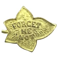 Vintage Forget Me Not Gilt Textured Brooch Pin Leaf c.1900