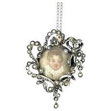 Georgian Silver 800 Pendant Chain Necklace Miniature Portrait Glassed Spectacular 1800s