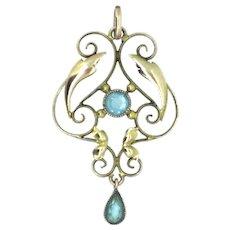 Edwardian 9CT Lavaliere Pendant Gold Hallmarked Blue Topaz Gemstones 1910