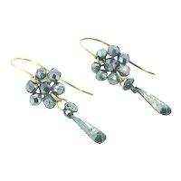 Georgian Cut Steel Gold 9CT Drop Flower Earrings Fabulous C1830s