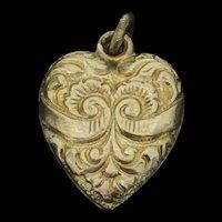 Victorian Style Gilt Scrolls Textured Small Heart Pendant Charm C.1870