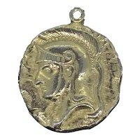 Roman Soldier Profile Pendant Medal Costume Elegant C.1930