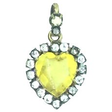Small Paste Heart Pendant Elegantly Crafted C.1890