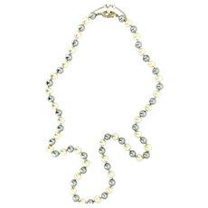 Vintage Imitation Pearls Grey and Beige Gilt 925 Hallmarked Clasp Hand Knots